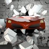 Αυτοκίνητο που σπάζει έναν τουβλότοιχο στοκ εικόνα με δικαίωμα ελεύθερης χρήσης