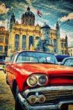 Αυτοκίνητο που σταθμεύουν παλαιό στην οδό habana στοκ εικόνα