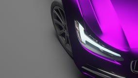 Αυτοκίνητο που τυλίγεται στην ιώδη ταινία χρωμίου μεταλλινών τρισδιάστατη απόδοση Στοκ φωτογραφία με δικαίωμα ελεύθερης χρήσης