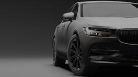Αυτοκίνητο που τυλίγεται στη μαύρη ταινία μεταλλινών τρισδιάστατη απόδοση Στοκ εικόνες με δικαίωμα ελεύθερης χρήσης