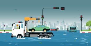 Αυτοκίνητο που χάνεται στην πλημμύρα απεικόνιση αποθεμάτων