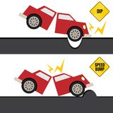 Αυτοκίνητο που χτυπά την πρόσκρουση και τη λακκούβα στο δρόμο ελεύθερη απεικόνιση δικαιώματος