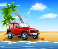 Αυτοκίνητο στην παραλία διανυσματική απεικόνιση