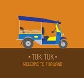 Αυτοκίνητο τριών ροδών ή tuk tuk Μπανγκόκ Ταϊλάνδη - illustrat Στοκ Εικόνα