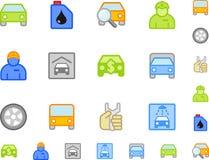 αυτοκινήτων εικονίδια που τίθενται επίπεδα Στοκ Φωτογραφίες