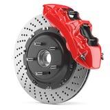 Αυτοκινητικός δίσκος φρένων και κόκκινος παχυμετρικός διαβήτης διανυσματική απεικόνιση