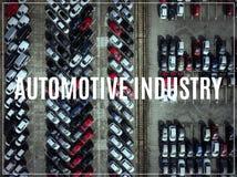 Αυτοκινητοβιομηχανία λέξης Εναέριο μέρος άποψης των οχημάτων στο χώρο στάθμευσης Στοκ φωτογραφίες με δικαίωμα ελεύθερης χρήσης