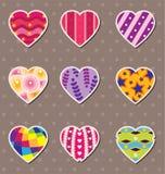 αυτοκόλλητες ετικέττες αγάπης καρδιών Στοκ Εικόνες