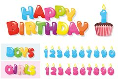 Αυτοκόλλητες ετικέττες γενεθλίων που τίθενται Ζωηρόχρωμες επιστολές, cupcake και αριθμοί κεριών για τα αγόρια και τα κορίτσια Στοκ Φωτογραφία