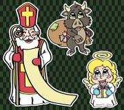 Αυτοκόλλητες ετικέττες για το ST Nicholas Day ελεύθερη απεικόνιση δικαιώματος