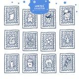 Αυτοκόλλητες ετικέττες γραμματοσήμων Χριστουγέννων ελεύθερη απεικόνιση δικαιώματος