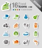 Αυτοκόλλητες ετικέττες - εικονίδια τροφίμων Στοκ εικόνα με δικαίωμα ελεύθερης χρήσης