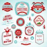 Αυτοκόλλητες ετικέττες και διακριτικά για το νέα έτος και τα Χριστούγεννα διανυσματική απεικόνιση