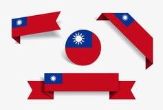 Αυτοκόλλητες ετικέττες και ετικέτες σημαιών της Ταϊβάν επίσης corel σύρετε το διάνυσμα απεικόνισης ελεύθερη απεικόνιση δικαιώματος