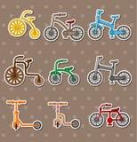 αυτοκόλλητες ετικέττες κινούμενων σχεδίων ποδηλάτων Στοκ Φωτογραφία