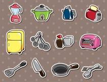 αυτοκόλλητες ετικέττες κουζινών κινούμενων σχεδίων Στοκ Εικόνες