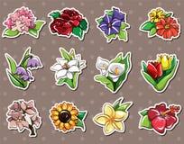 αυτοκόλλητες ετικέττες λουλουδιών κινούμενων σχεδίων Στοκ εικόνες με δικαίωμα ελεύθερης χρήσης