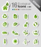 Αυτοκόλλητες ετικέττες - οικολογικά εικονίδια Στοκ φωτογραφία με δικαίωμα ελεύθερης χρήσης