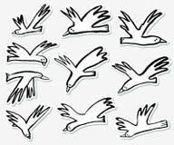 Αυτοκόλλητες ετικέττες πουλιών Doodle καθορισμένες Συλλογή με τα αστεία πετώντας ζώα ελεύθερη απεικόνιση δικαιώματος
