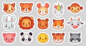 Αυτοκόλλητες ετικέττες προσώπου ζώων Χαριτωμένα ζωικά πρόσωπα, αστείο αυτοκόλλητη ετικέττα emoji kawaii ή είδωλο Διανυσματικό σύν απεικόνιση αποθεμάτων
