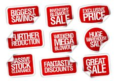 Αυτοκόλλητες ετικέττες πώλησης καθορισμένες - περαιτέρω μειώσεις, Στοκ Εικόνες