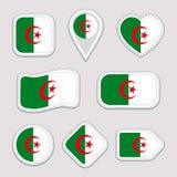 Αυτοκόλλητες ετικέττες σημαιών της Αλγερίας καθορισμένες Αλγερινά εθνικά διακριτικά συμβόλων Απομονωμένα γεωμετρικά εικονίδια Δια διανυσματική απεικόνιση