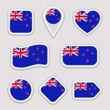 Αυτοκόλλητες ετικέττες σημαιών της Νέας Ζηλανδίας καθορισμένες Εθνικά διακριτικά συμβόλων Απομονωμένα γεωμετρικά εικονίδια Διανυσ απεικόνιση αποθεμάτων