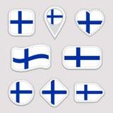 Αυτοκόλλητες ετικέττες σημαιών της Φινλανδίας καθορισμένες Εθνικά διακριτικά συμβόλων των φινλανδικών Απομονωμένα γεωμετρικά εικο απεικόνιση αποθεμάτων