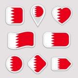 Αυτοκόλλητες ετικέττες σημαιών του Μπαχρέιν καθορισμένες Του Μπαχρέιν εθνικά διακριτικά συμβόλων Απομονωμένα γεωμετρικά εικονίδια διανυσματική απεικόνιση