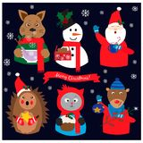 Αυτοκόλλητες ετικέττες συλλογής Χριστουγέννων με τα αστεία ζώα Στοκ Φωτογραφίες