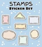 Αυτοκόλλητες ετικέττες ταχυδρομικών σφραγίδων καθορισμένες Ζωηρόχρωμη συλλογή ετικετών doodles απεικόνιση αποθεμάτων
