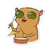 Αυτοκόλλητη ετικέττα για τον αγγελιοφόρο με το αστείο ζώο Η χάμστερ παίζει τα τύμπανα Διανυσματική απεικόνιση που απομονώνεται στ ελεύθερη απεικόνιση δικαιώματος