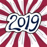 Αυτοκόλλητη ετικέττα καλής χρονιάς 2019 στο ριγωτό υπόβαθρο στοκ εικόνες με δικαίωμα ελεύθερης χρήσης