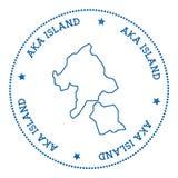 Αυτοκόλλητη ετικέττα χαρτών νησιών Aka Ελεύθερη απεικόνιση δικαιώματος