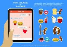 Αυτοκόλλητες ετικέττες αγάπης γρήγορου φαγητού στην εφαρμογή συνομιλίας Στοκ Εικόνες