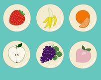 Αυτοκόλλητες ετικέττες γεύσεων φρούτων για τα ποτά και τα επιδόρπια Στοκ Εικόνες