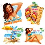 Αυτοκόλλητες ετικέττες για το ευτυχές καλοκαίρι ελεύθερη απεικόνιση δικαιώματος