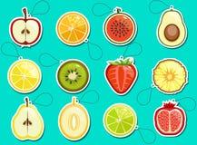 Αυτοκόλλητες ετικέττες εικονιδίων φρούτων Στοκ Φωτογραφία