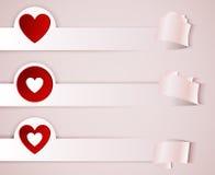 Αυτοκόλλητες ετικέττες, ιπτάμενα με την κόκκινη καρδιά Στοκ εικόνα με δικαίωμα ελεύθερης χρήσης