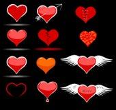 Αυτοκόλλητες ετικέττες και εικονίδια καρδιών για την ημέρα ενός βαλεντίνου Στοκ Εικόνες