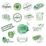 Αυτοκόλλητες ετικέττες και στοιχεία οργανικής τροφής Στοκ εικόνα με δικαίωμα ελεύθερης χρήσης