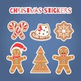 Αυτοκόλλητες ετικέττες μπισκότων μελοψωμάτων Χριστουγέννων καθορισμένες διανυσματική απεικόνιση