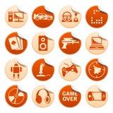 Αυτοκόλλητες ετικέττες παιχνιδιών στον υπολογιστή Στοκ εικόνα με δικαίωμα ελεύθερης χρήσης