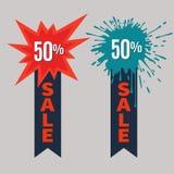 Αυτοκόλλητες ετικέττες πώλησης με την κορδέλλα Ετικέτες πώλησης Στοκ Εικόνες
