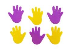 Αυτοκόλλητες ετικέττες τυπωμένων υλών χεριών στοκ εικόνες