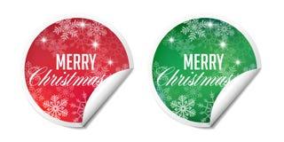 Αυτοκόλλητες ετικέττες χειμερινών Χριστουγέννων Στοκ Εικόνα