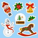 Αυτοκόλλητες ετικέττες Χριστουγέννων καθορισμένες Στοιχεία Χριστουγέννων καθορισμένα Στοκ εικόνα με δικαίωμα ελεύθερης χρήσης