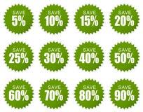 Αυτοκόλλητη ετικέττα έκπτωσης - πράσινη Στοκ Φωτογραφίες