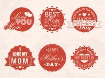 Αυτοκόλλητη ετικέττα ή ετικέτα για τον εορτασμό ημέρας της ευτυχούς μητέρας Στοκ φωτογραφίες με δικαίωμα ελεύθερης χρήσης