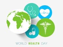 Αυτοκόλλητη ετικέττα, ετικέττα ή ετικέτα για την ημέρα παγκόσμιας υγείας Στοκ Φωτογραφία